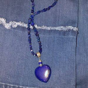 Jay King lapis necklace with lapis heart pendant